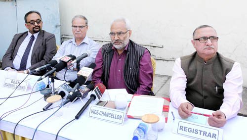 JU Vice-Chancellor Prof RD Sharma holding media interaction on Wednesday. —Excelsior/Rakesh