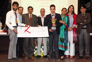 Winners of National Business Plan competition being awarded during valedictory function of the event on Thursday. -Excelsior/Rakesh