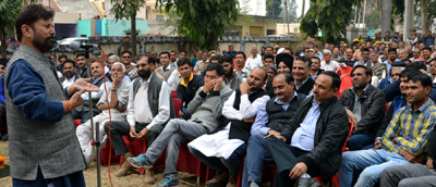 Minister for Forest Choudhary Lal Singh addressing gathering at Hiranagar on Saturday.