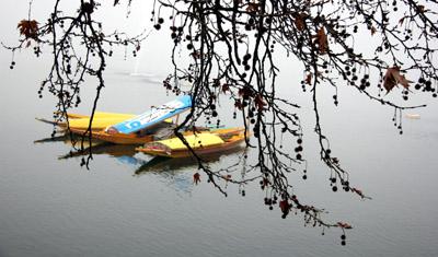 Fog engulfs Dal lake in Srinagar on Saturday. —Excelsior/Shakeel