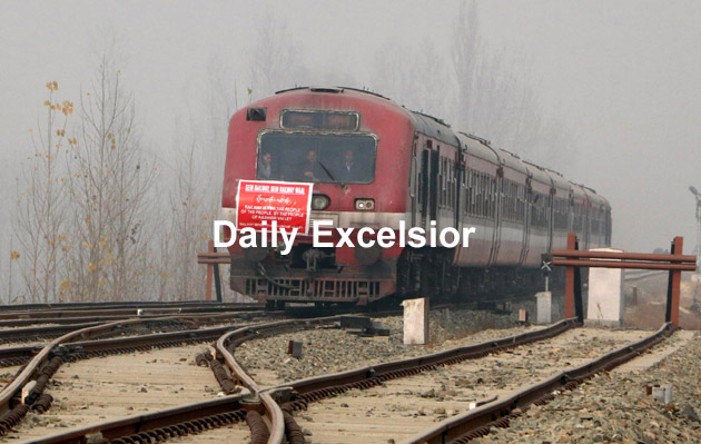 Rail service resumed from Budgam to Banihal after remaining suspend for nearly five months due to Kashmir unrest. Excelsior/Shakeel-ul-Rehman