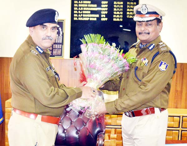 A V Chauhan taking over as IG CRPF Jammu from Kuldeep Dhar on Thursday.