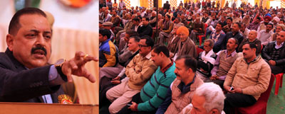 Union Minister in PMO, Dr Jitendra Singh addressing a gathering at Samba on Sunday. —Excelsior/Rakesh