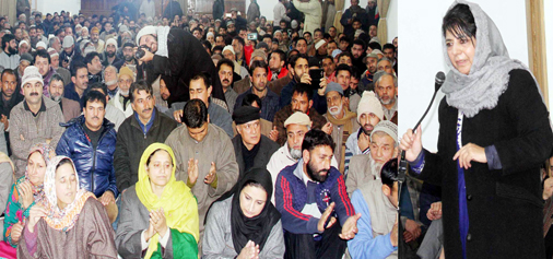 Chief Minister Mehbooba Mufti addressing party workers in Srinagar on Tuesday.