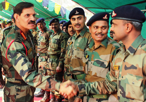 Army chief Gen Dalbir Singh Suhag inter-acting with jawans at Northern Command Headquarters in Udhampur on Wednesday.