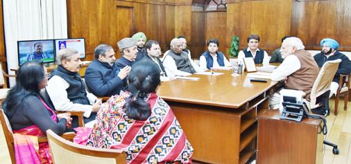 Congress leaders meeting Prime Minister Narendra Modi in New Delhi on Friday. (UNI)