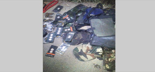 Army uniforms and badges recovered from bushes in Rajouri on Friday. —Excelsior/Amit