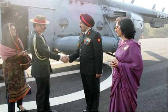 Army chief Gen Dalbir Singh Suhag being received at Western Command Headquarters at Chandi Mandir, Chandigarh on Sunday.