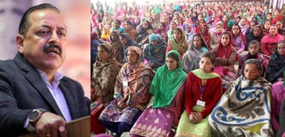 Union Minister Dr Jitendra Singh addressing women folk during a function at Udhampur on Saturday. —Excelsior/Rakesh