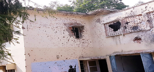 A building damaged in terror attack inside Army Unit at Nagrota. —Excelsior Photo