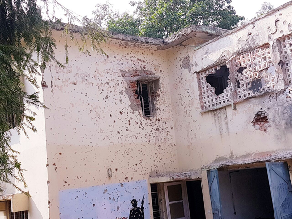 A building damaged in terror attack inside Army Unit at Nagrota. Another pic on page 6. —Excelsior Photo