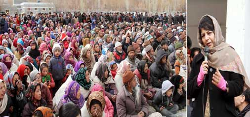 Chief Minister Mehbooba Mufti addressing a gathering at Leh on Saturday.