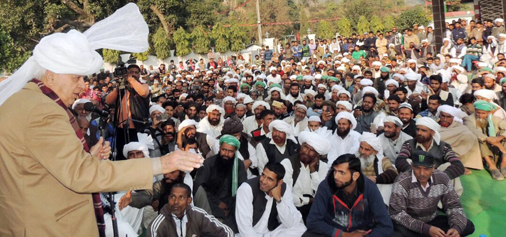 NC president Dr Farooq Abdullah addressing party workers in Kathua on Tuesday.