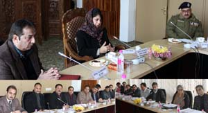 Chief Minister, Mehbooba Mufti chairing an officers' meeting at Srinagar on Monday.