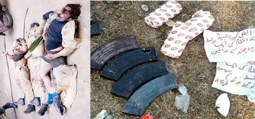 Bodies of three militants killed in Nagrota (left) and documents recovered from them (right).—Excelsior Photo