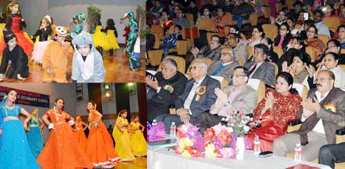 MoS Education Priya Sethi along with other dignitaries during Annual Day celebrations at SM Jain Hr Sec School Jammu on Sunday.