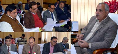Minister for Public Works AR Veeri chairing a meeting at Jammu on Wednesday.
