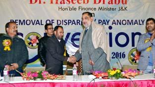 Finance Minister, Dr Haseeb Drabu during convention of ADCSA at Srinagar.