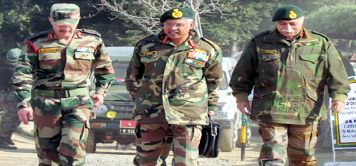 Northern Command chief Lt Gen Devraj Anbu during a visit to Kashmir on Sunday.