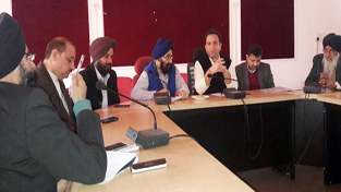 Minister of Transport Sunil Sharma during a meeting with representatives of Transport Unions at Jammu on Sunday.