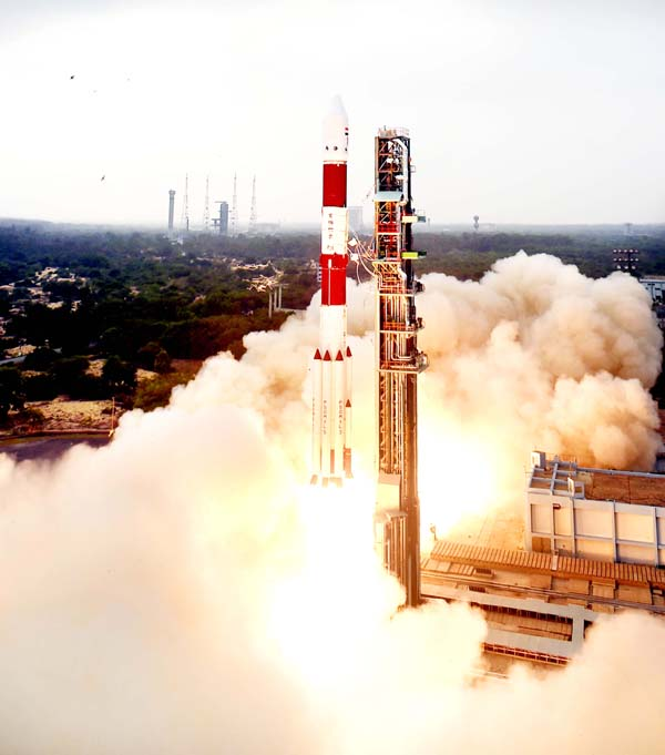 PSLV-C36 carrying remote sensing satellite RESOURCESAT-2A successfully lifts-off from the Satish Dhawan Space Centre in Sriharikota on Wednesday.(UNI)