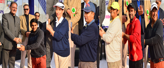 Speaker J&K Legislative Assembly presenting trophies to winners of 5th JK Golf Association Tournament in Jammu on Sunday.