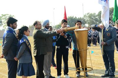 Annual Athletic Meet being inaugurated at Heritage School in Jammu.