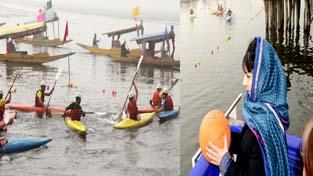 Chief Minister Mehbooba Mufti inaugurating National Water Sports Championship at Char Chinari on Dal lake in Srinagar. -Excelsior/Shakeel