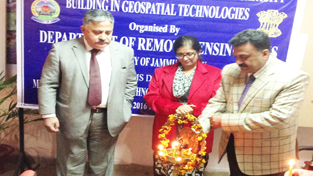 CUJ VC and others lighting ceremonial lamp during inaugural of a capacity building programme at JU on Tuesday.