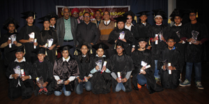Winners of Career Abacus Championship posing for a photograph alongwith the chief guest on Monday.
