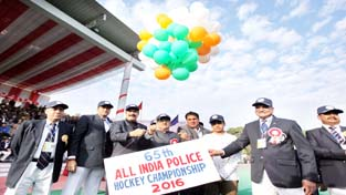 DyCM, Dr Nirmal Singh and other dignitaries inaugurating 65th All India Police Hockey Championship in Jammu on Saturday.    -Excelsior/Rakesh