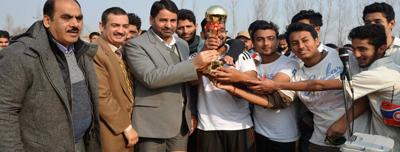 Winners of SKIMS Premier Football League being felicitated in Srinagar.