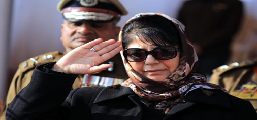 Chief Minister Mehbooba Mufti takes salute at Passing Out Parade in Pulwama on Wednesday. —Excelsior/Younis Khaliq