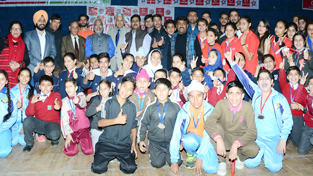 Winners posing alongwith chief guest and other dignitaries on Day-1 of 8th State Speedball Championship in Jammu.