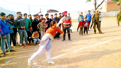 Athlete in action during a throwing event of Athletic Meet organized by Ramban Police.