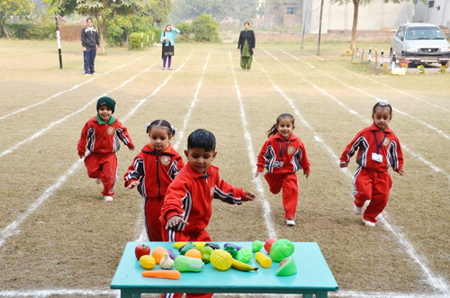 Children enjoying activity while celebrating Annual Sports Week at GLS Public School in Jammu.