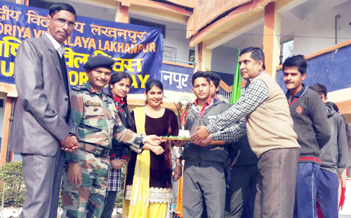 Students being felicitated by the chief guest during Annual Sports Day at KV Lakhanpur.