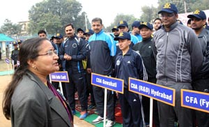 Saswati Bandopadhyay, Principal Controller of Defence Accounts (Northern Command) interacting with players during inaugural ceremony of Volleyball Tournament.