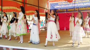 Colourful cultural item being presented by the students during Annual Day at KV Bantalab on Friday.