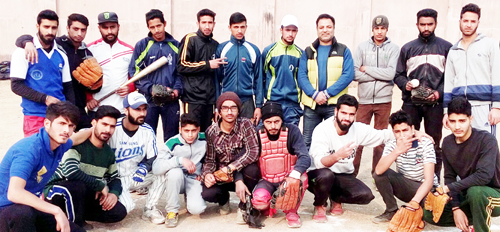 Winners of Baseball Championship posing for agroup photograph in Srinagar.