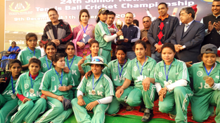 J&K eves posing for a group photograph after winning 2nd place in 24th Junior National Tennis Ball Cricket Championship.