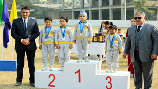 Winners of various races being felicitated by the chief guest and other dignitaries during 10th Annual Sports Meet.
