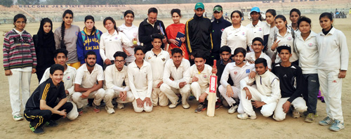 State Tennis Ball Cricket team posing alongwith officials in Jammu before leaving for Haryana.