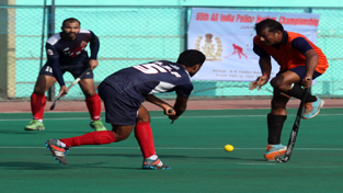 Players in action during 65th All India Police Hockey Championship at KK Hakhu Astroturf Stadium in Jammu. —Excelsior/Rakesh