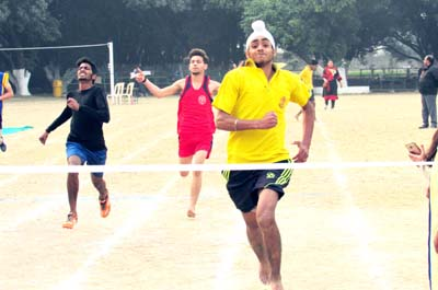 Athletes sweating it-out during sports events held at St Peter's School Karan Bagh in Jammu.