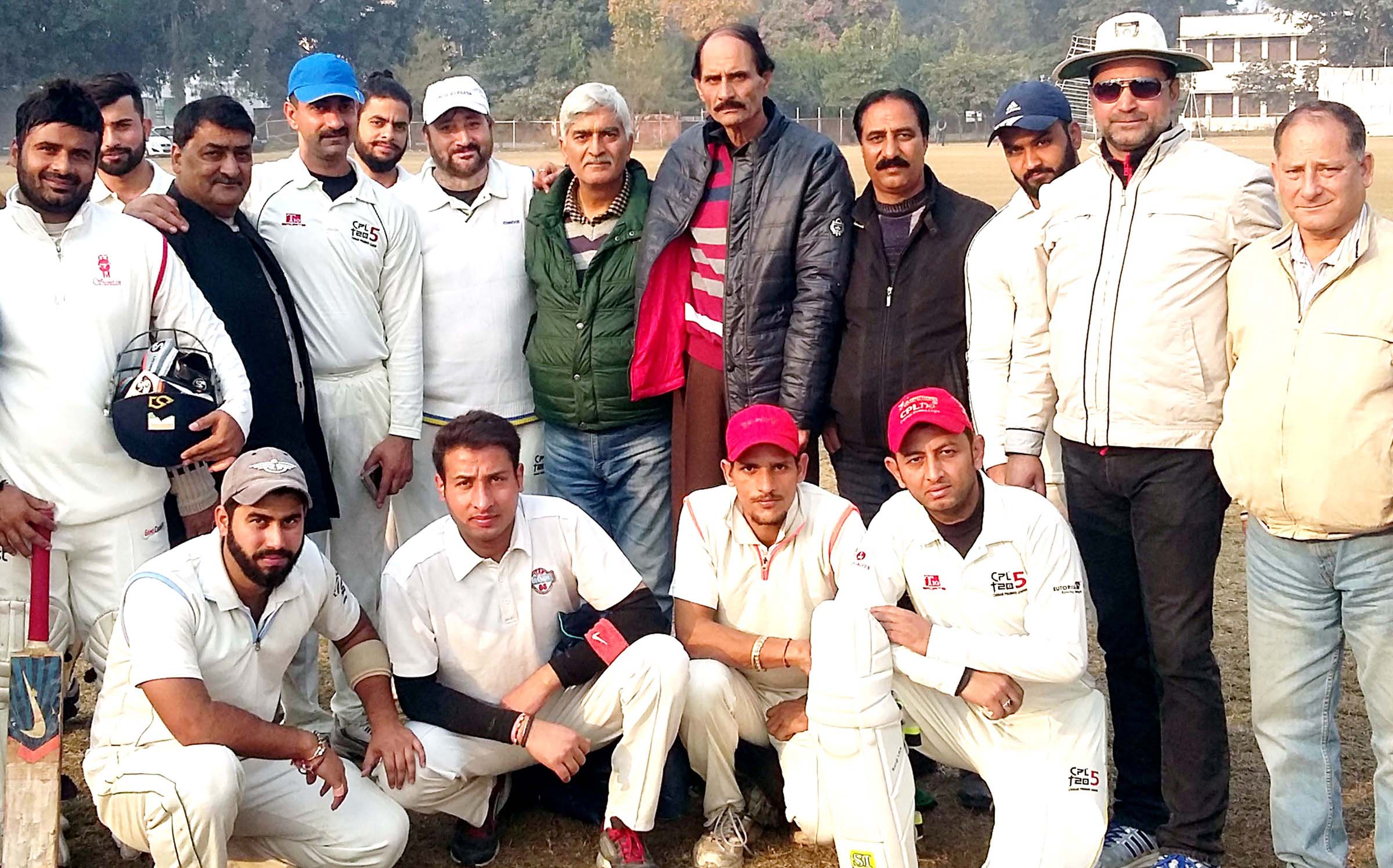Winners Chinar Cricket Club Delhi posing alongwith chief guest Shiban Lal Trakroo, Joint Secretary JKCA Kashmir wing and other dignitaries on Saturday.