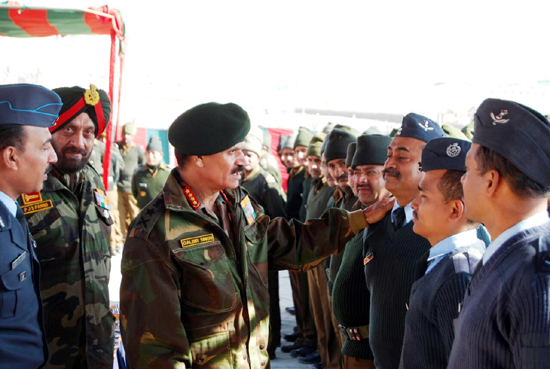Army chief Gen Dalbir Singh Suhag and GOC Leh Corps Lt Gen PJS Pannu during a visit to forward areas of Leh on Monday.
