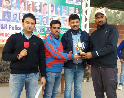 Man of the Match award being presented to winner during 7th Police Martyrs Memorial Cricket Tournament at Kathua.