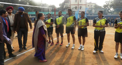 Chief guest and other dignitaries interacting with players during final match of Volleyball Tournament.