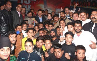 Winners posing alongwith the chief guest, Ch Lal Singh in Jammu on Friday.